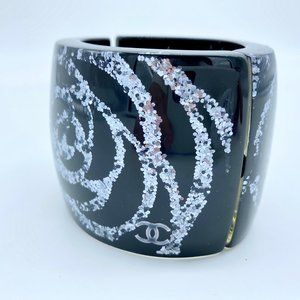 CHANEL Jewelry - Chanel Black and Silver Camellia Flower Cuff